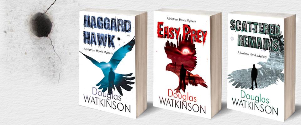 Book brand design of a crime series written by Douglas Watkinson